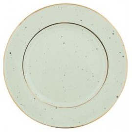 Plate pale green w/gold rim