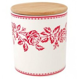 Storage jar Fleur red w/wooden lid medium