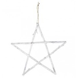 Star wooden white hanging large