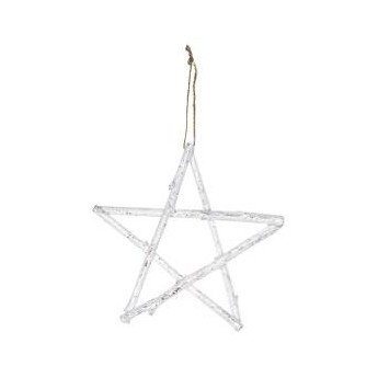 Star wooden white hanging small