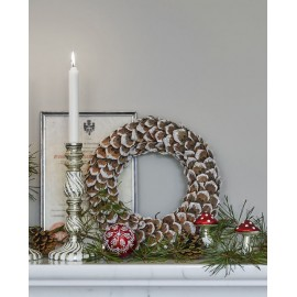Wreath brown wooden w/shimmer hanging WIANEK
