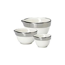 Measuring bowl silver rim set of 3 pcs