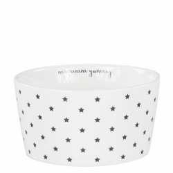 bastion Bowl 13,5cm White little Stars mmm yummy in Black