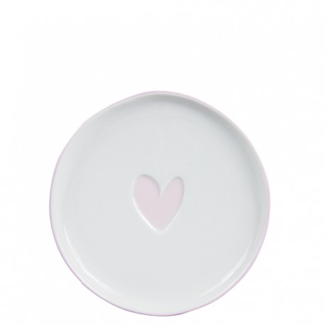 bastion Cake Plate 16cm White/Heart in Rose