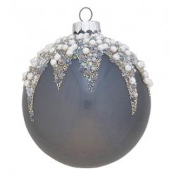 BOMBKA BALL GLASS FLORA PEARL DARK GREY  GREEN GATE