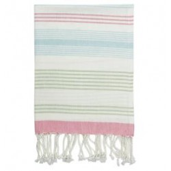 20192 Tea towel Summer stripe multi w/fringe 50x70cm