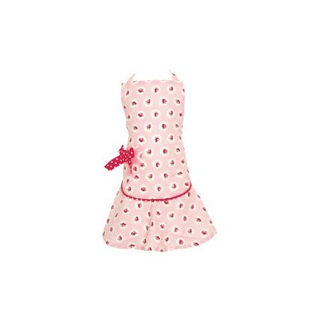2019Child apron w/bow Strawberry pale pink