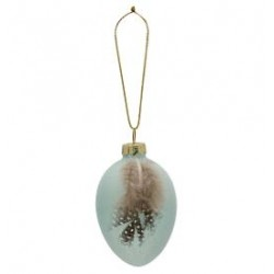 2019Egg ornament hanging Feather pale blue