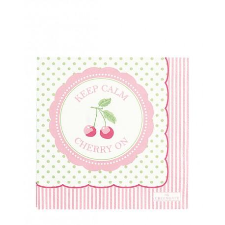 2019Napkin Cherry berry p.green small 20pc