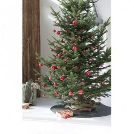 Julekugle rød m/hvidt svunget mønster