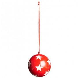 Julekugle rød m/hvide stjerner