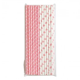 Rurki papierowe do napojów Paper straw Abelone pale pink 25 pcs