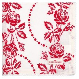Napkin with lace Fleur red