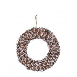 Wreath brown wooden w/shimmer hanging WIANEK