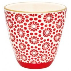 LATTE CUP KELLY RED W/GOLD GREEN GATE