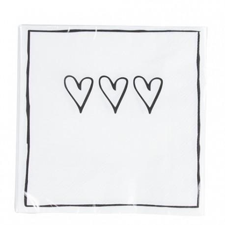 bastionNapkin 3 Hearts incl. 20 napkins 33x33cm