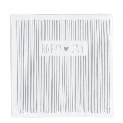 bastionNapkin Happy Day & stripes incl.20 napk. 33x33cm