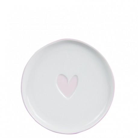 bastion Cake Plate 16cm White/Heart in Rose