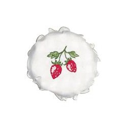 2019Jam lid cover Strawberry white w/embroidery