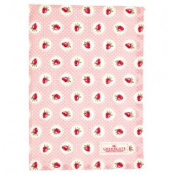 2019Tea towel Strawberry pale pink