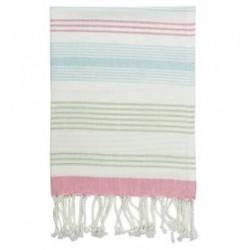 20192 Tea towel Summer stripe multi w/fringe 50x70cm