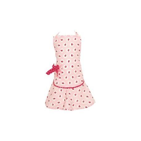 2019Child apron w/bow Strawberry pale pink