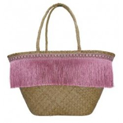 2019Basket bag Fringe pale pink