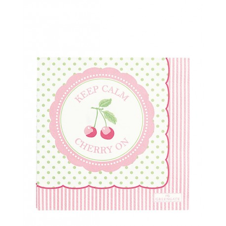 2019Napkin Cherry berry p.green small 20pc