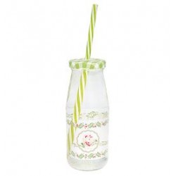 ggBottle Lily petit white w/lid and straw