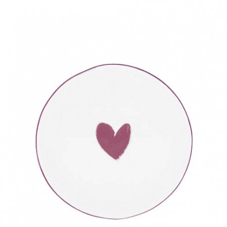 Cake Plate 16cm White/Heart in Red