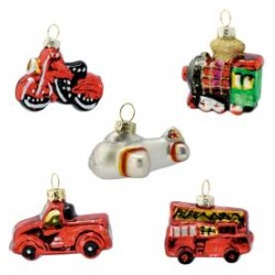 10 Ornament glass Christmas car red set of 5