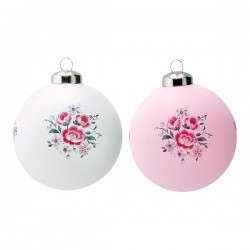 19 Ball glass Nicoline white & pale pink assorted