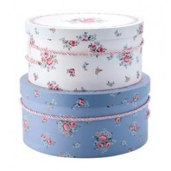 19 Storage box round Nicoline white set of 2 XL