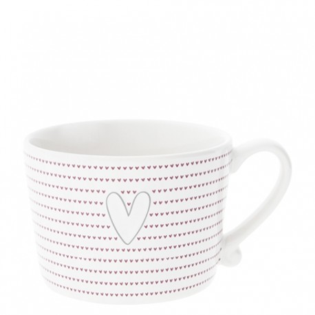 BC  KUBEK WHITE LITTLE HEARTS IN  RED/ HEART GREY BASTION COLLECTIONS
