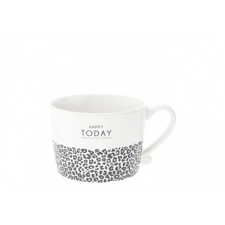 KUBEK  Cup White Happy Today & leopard in Black BASTION COLLECTIONS