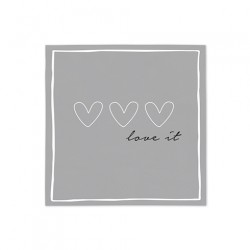 SERWETKI PAPIEROWE  Grey 3 heart/love BASTION COLLECTIONS
