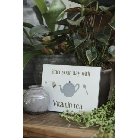 GG Metallschild Start your day with vitamin tea