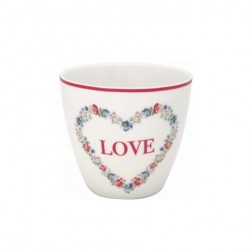 KUBEK LATTE CUP HEART LOVE WHITE GREEN GATE