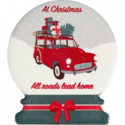 Magnet Christmas car red set of 4