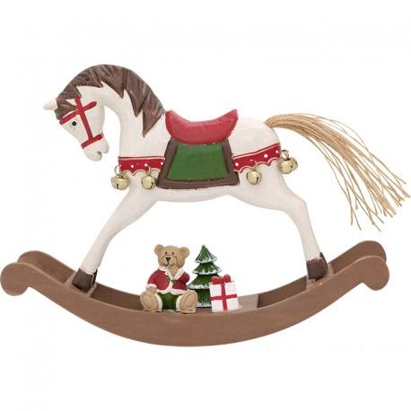 Christmas decoration rocking horse dusty red large